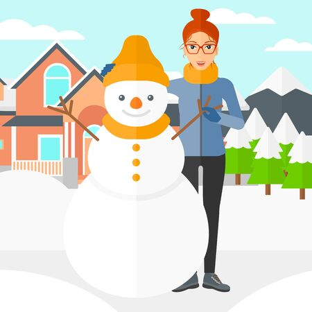 A woman standing near a snowman on a house and mountains background vector flat design illustration. Square layout.