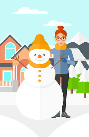 snow and trees: A woman standing near a snowman on a house and mountains background vector flat design illustration. Vertical layout.
