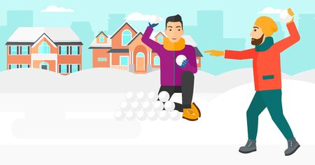 snowballs: Two men playing in snowballs outdoors on city background vector flat design illustration. Horizontal layout.