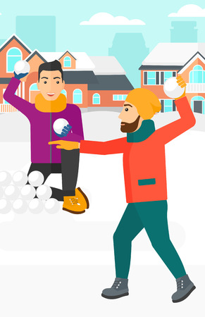 palle di neve: Two men playing in snowballs outdoors on city background vector flat design illustration. Vertical layout.