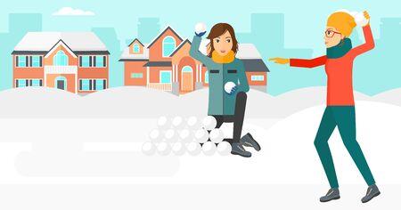 palle di neve: Due donne che giocano a palle di neve all'aperto in design piatto illustrazione sfondo di città vettoriale. layout orizzontale.