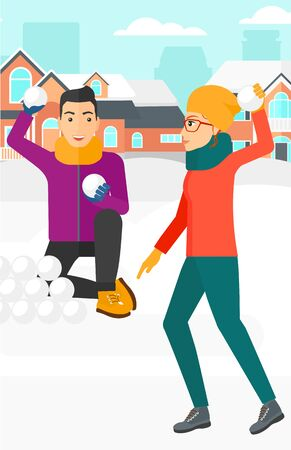 Man and woman playing in snowballs outdoors on city background vector flat design illustration. Vertical layout.