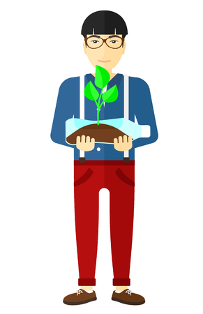 plant stand: An asian man holding in hands a plastic bottle with a small plant growing inside vector flat design illustration isolated on white background.