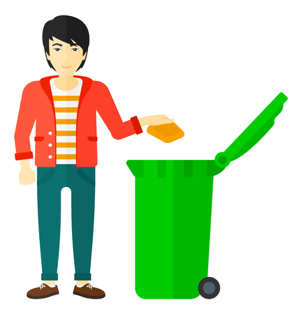 throwing: An asian man throwing a trash into a green bin vector flat design illustration isolated on white background.