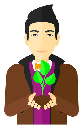 hands holding plant: An asian man holding in hands a small plant in soil vector flat design illustration isolated on white background.