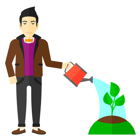 An asian man watering a tree vector flat design illustration isolated on white background.
