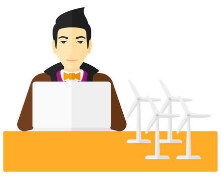 An asian man looking at the laptop screen with wind turbine models on the table vector flat design illustration isolated on white background. Illustration