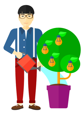 plant stand: An asian man watering a tree growing in pot with light bulbs instead flowers vector flat design illustration isolated on white background.