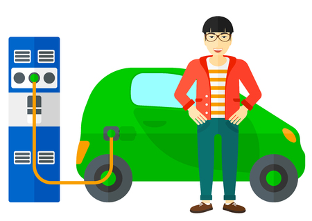plugging: An asian man charging his electric car vector flat design illustration isolated on white background.