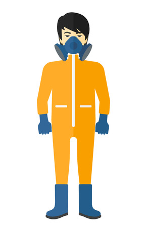 An asian man wearing a protective chemical suit for toxic atmosphere vector flat design illustration isolated on white background.