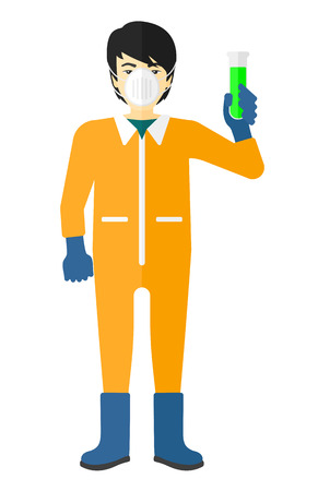 An asian laboratory assistant in protective chemical suit holding a test-tube in hand vector flat design illustration isolated on white background.