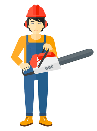 logger: An asian lumberjack holding a chainsaw vector flat design illustration isolated on white background.