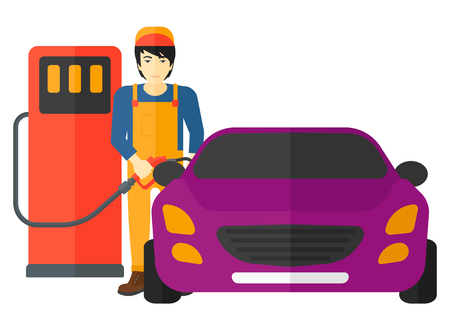 filling: An asian man filling up fuel into the car vector flat design illustration isolated on white background. Illustration