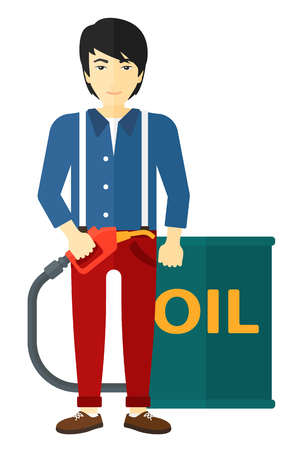 An asian man standing beside the oil can and holding filling nozzle vector flat design illustration isolated on white background.