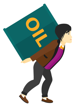 man carrying: An asian man carrying an oil can on his back vector flat design illustration isolated on white background.