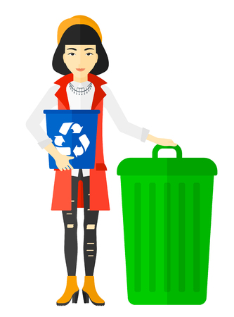 full length woman: An asian woman standing with a recycle bin in hand and another bin on the ground vector flat design illustration isolated on white background.