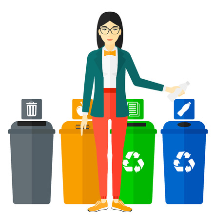 appropriate: An asian woman standing near four bins and throwing a plastic bottle in an appropriate bin vector flat design illustration isolated on white background.