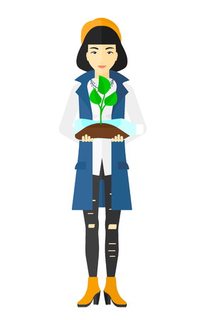 plant stand: An asian woman holding in hands a plastic bottle with a small plant growing inside vector flat design illustration isolated on white background.
