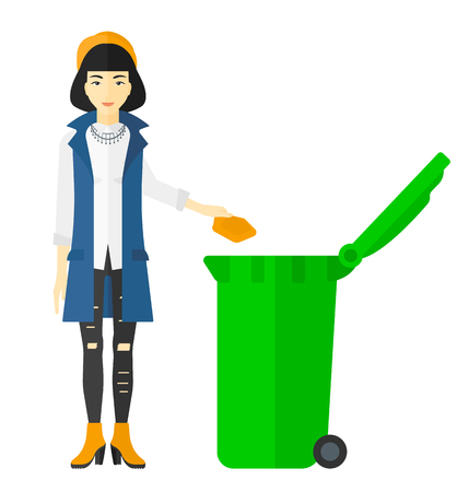An asian woman throwing a trash into a green bin vector flat design illustration isolated on white background.