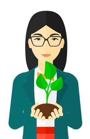 hands holding plant: An asian woman holding in hands a small plant in soil vector flat design illustration isolated on white background.