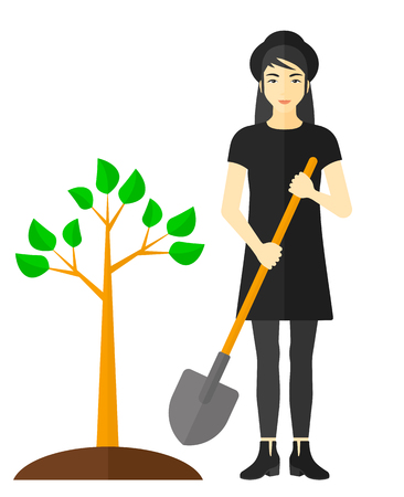 plant tree: An asian woman with the shovel plants a tree vector flat design illustration isolated on white background.