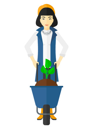 asian gardening: An asian woman standing with a plant and soil in a wheelbarrow vector flat design illustration isolated on white background.
