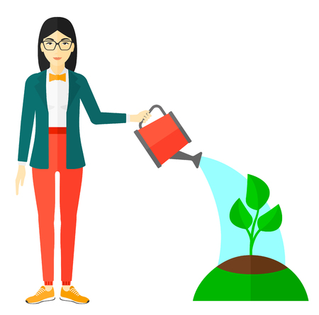 asian adult: An asian woman watering a tree vector flat design illustration isolated on white background. Illustration