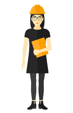 woman tablet: An asian woman standing with a tablet computer in hand vector flat design illustration isolated on white background. Illustration