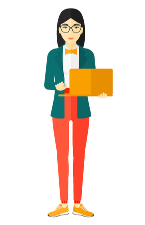 girl using laptop: An asian woman holding a laptop in hands vector flat design illustration isolated on white background.