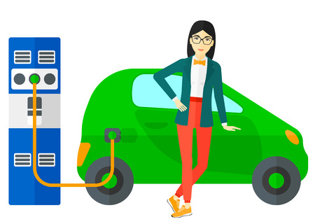 plugging: An asian woman charging her electric car vector flat design illustration isolated on white background. Illustration