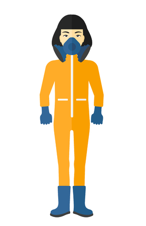 An asian woman wearing a protective chemical suit for toxic atmosphere vector flat design illustration isolated on white background. Illustration