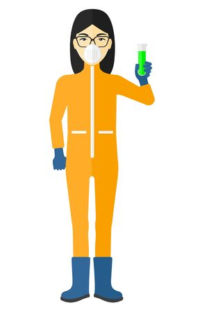 protective: An asian laboratory assistant in protective chemical suit holding a test-tube in hand vector flat design illustration isolated on white background.