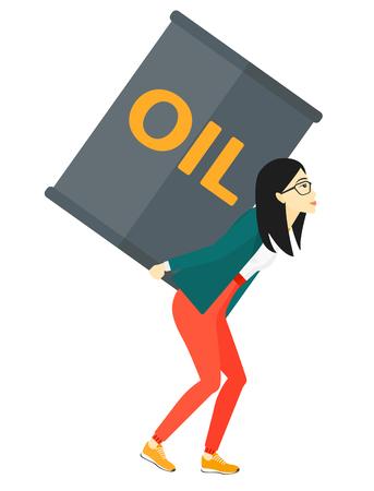 Een Aziatische vrouw met een olie kan op haar rug vector platte ontwerp illustratie op een witte achtergrond. Stockfoto - 51499876