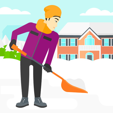 An asian man shoveling and removing snow in front of house  vector flat design illustration. Square layout.