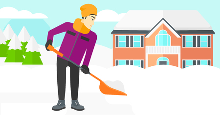 shoveling: An asian man shoveling and removing snow in front of house  vector flat design illustration. Horizontal layout.