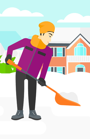 An asian man shoveling and removing snow in front of house  vector flat design illustration. Vertical layout. Ilustração