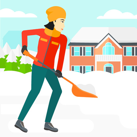 An asian woman shoveling and removing snow in front of house  vector flat design illustration. Square layout. Ilustração