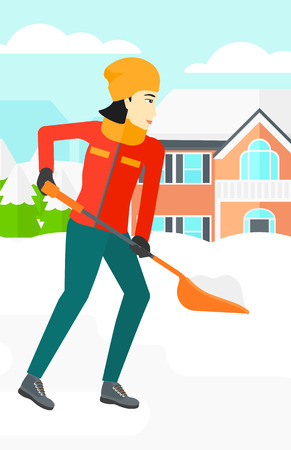 An asian woman shoveling and removing snow in front of house  vector flat design illustration. Vertical layout. Ilustração