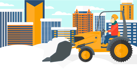 An asian man driving a bulldozer removing snow on a city background vector flat design illustration. Horizontal layout.