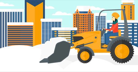 An asian woman driving a bulldozer removing snow on a city background vector flat design illustration. Horizontal layout. Ilustração