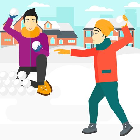 An asian men playing in snowballs outdoors on city background vector flat design illustration. Square layout.