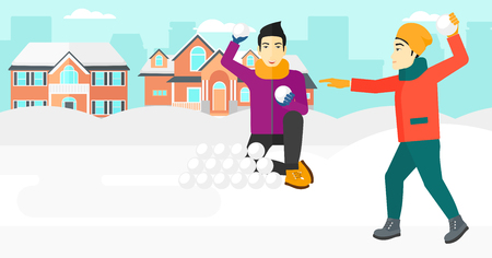 An asian men playing in snowballs outdoors on city background vector flat design illustration. Horizontal layout.