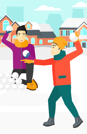 palle di neve: An asian men playing in snowballs outdoors on city background vector flat design illustration. Vertical layout. Vettoriali