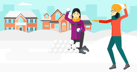An asian women playing in snowballs outdoors on city background vector flat design illustration. Horizontal layout.