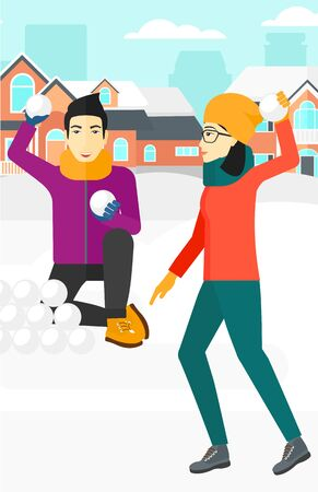 An asian man and woman playing in snowballs outdoors on city background vector flat design illustration. Vertical layout.