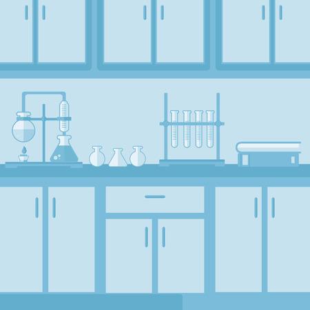 Background of laboratory interior vector flat design illustration. Square layout.