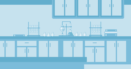 Background of laboratory interior vector flat design illustration. Horizontal layout. Vettoriali