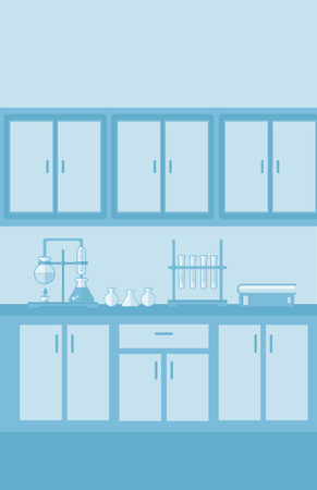 biological science: Background of laboratory interior vector flat design illustration. Vertical layout.