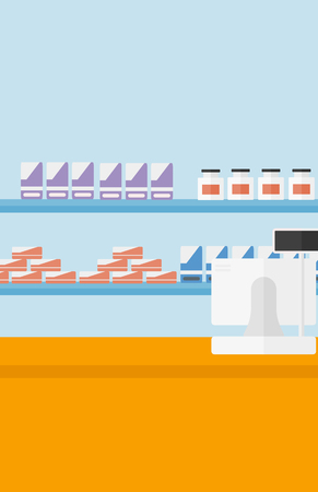 Background of pharmacy with counter vector flat design illustration. Vertical layout.