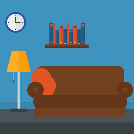 inside house: Background of furnished room vector flat design illustration. Square layout. Illustration